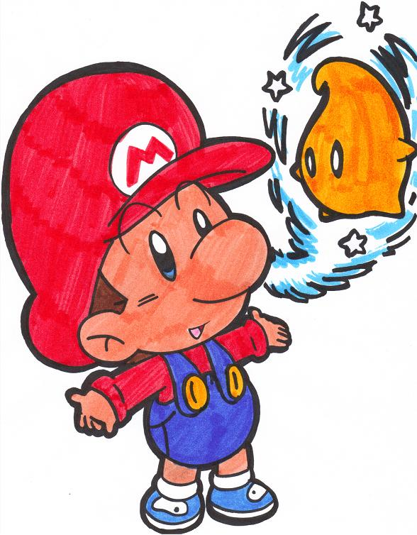 588x754 Baby Mario And A Luma By Nintendrawer