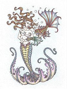 226x300 Baby Mermaid Drawings Fine Art America