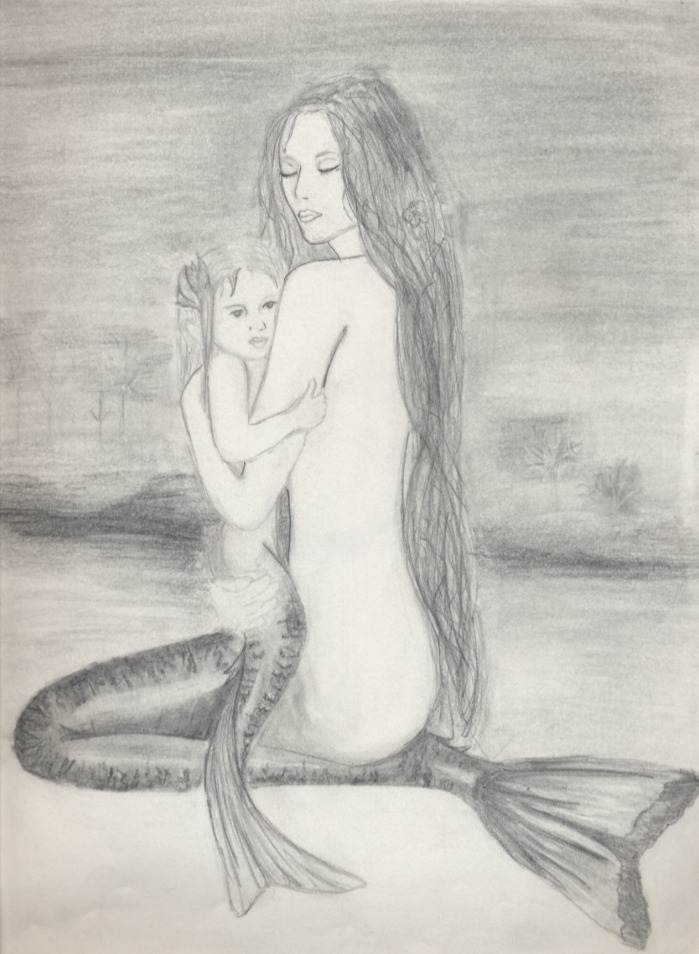 699x954 Mermaid And Baby Mermaid By Jenny Penny 001