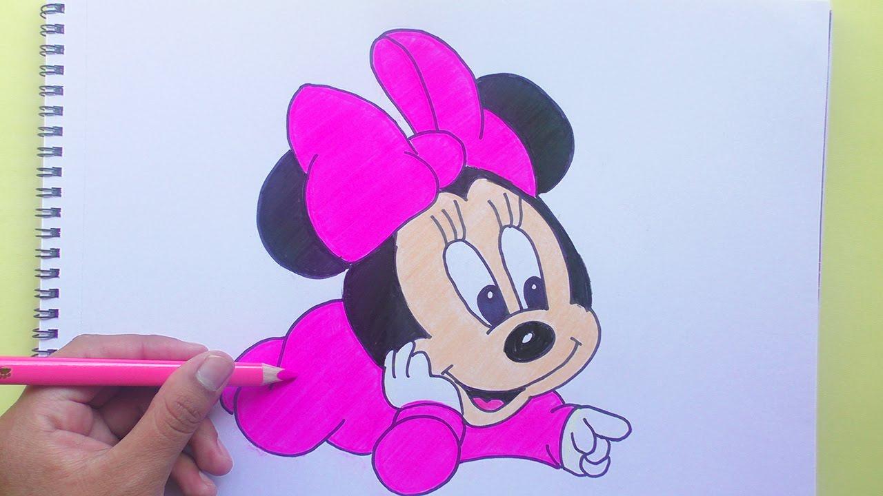 1280x720 Baby Mickey Mouse Drawing Dibujando Y Coloreando Minnie Baby