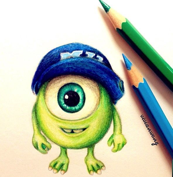 591x603 Baby Mike Wazowski Colouring Pencil (Find Me