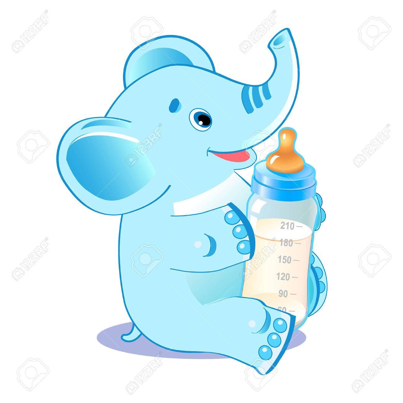 1300x1300 Cute Elephant. Elephant With Milk Bottle. Welcome Baby Boy. Vector