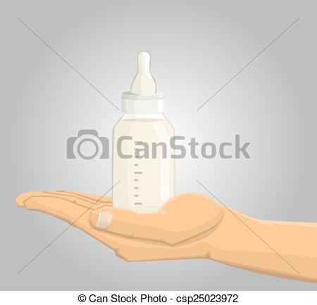 450x433 Hand Holding A Baby Feeding Bottle Vectors Illustration