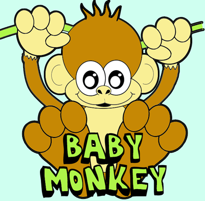 400x392 How To Draw A Cartoon Baby Monkey Hanging From A Vine