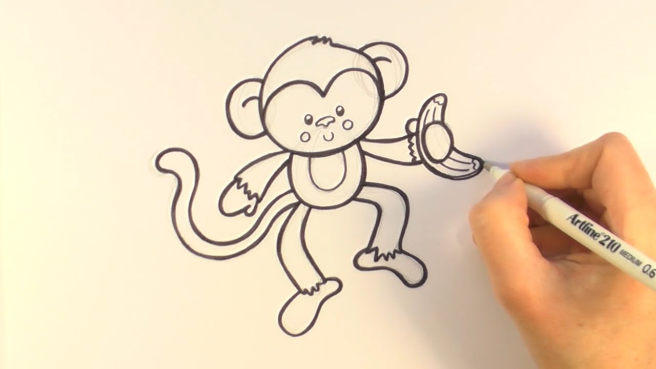 1280x720 How To Draw A Cartoon Monkey Holding A Banana
