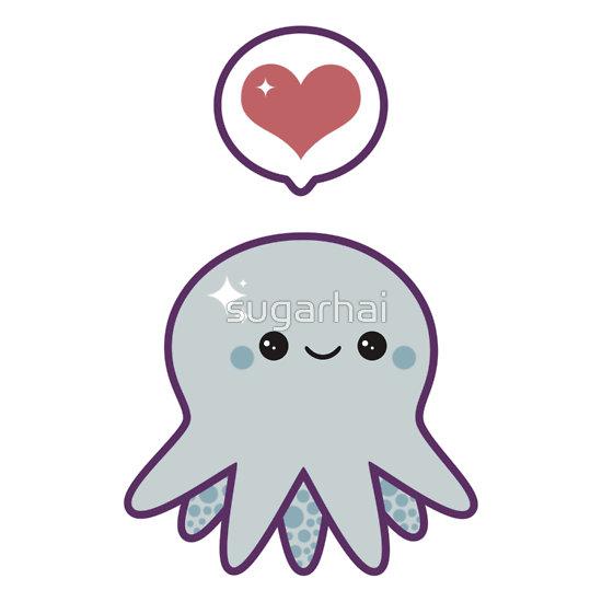 550x550 Cute Blue Octopus Kawaii, Doodles