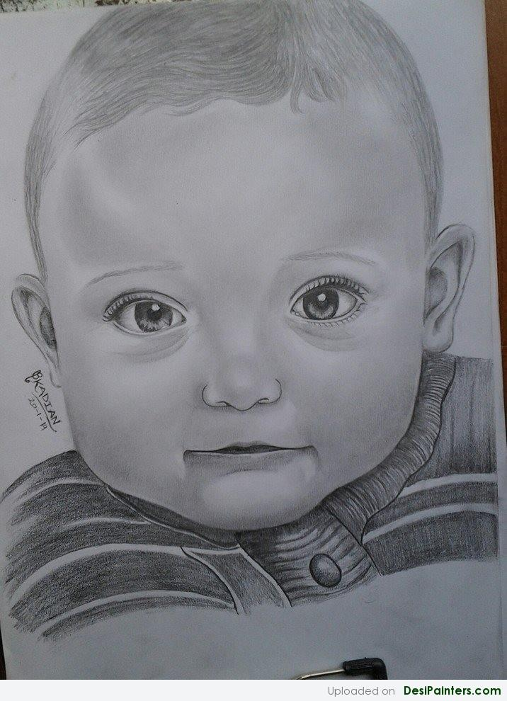 716x990 pencil sketch of a cute baby boy