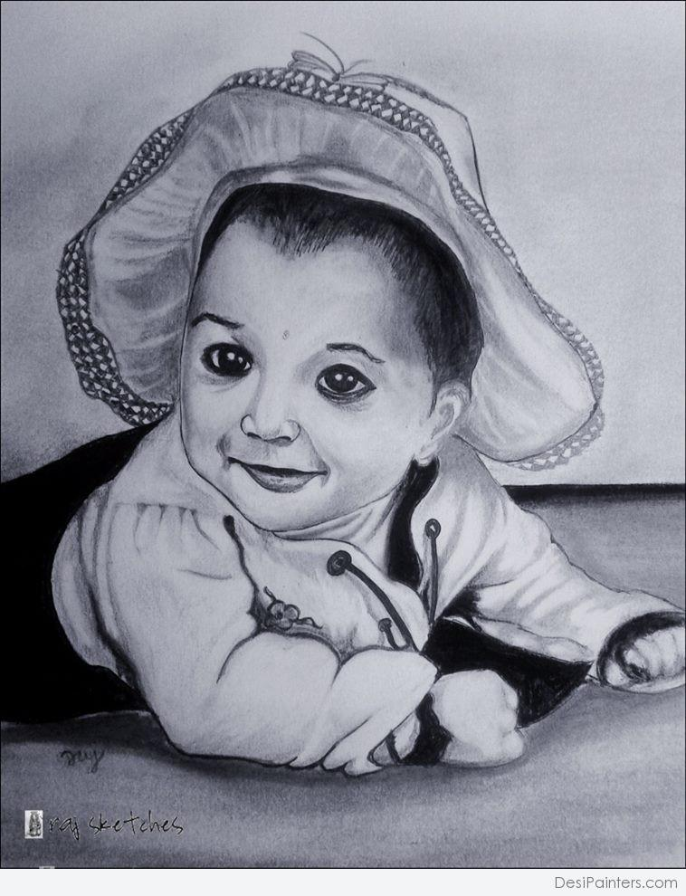 758x990 pictures pencil sketch images cute baby