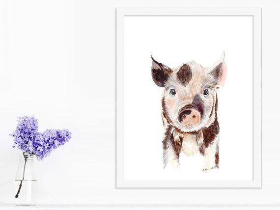 570x428 Baby Pig Painting Farm Animal Print Piglet Art Baby Animal