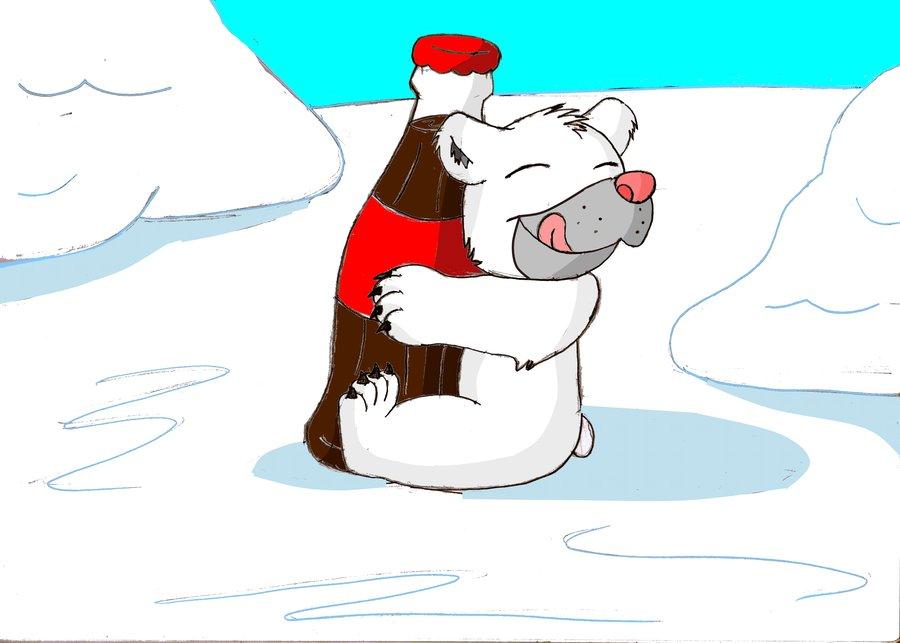 900x643 Baby Polar Bear Hugging A Bottle Of Coke By Creepyland