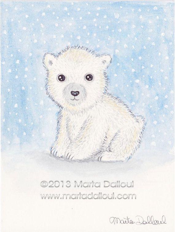 570x756 Polar Bear Original Watercolor Art. Cute Bear Illustration. Baby