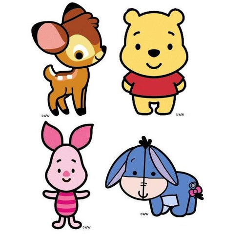 500x480 Baby Bambi, Baby Winnie The Pooh, Baby Piglet, And Baby Eeyore