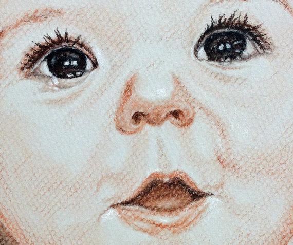 570x477 Custom Baby Portrait Child Portrait Custom Portrait Drawing