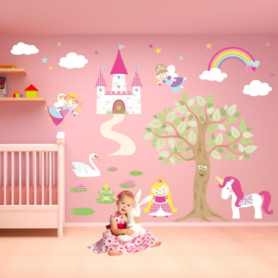 950x950 Ideas Cute Interior Drawing In The Wall For Baby Room With Cream