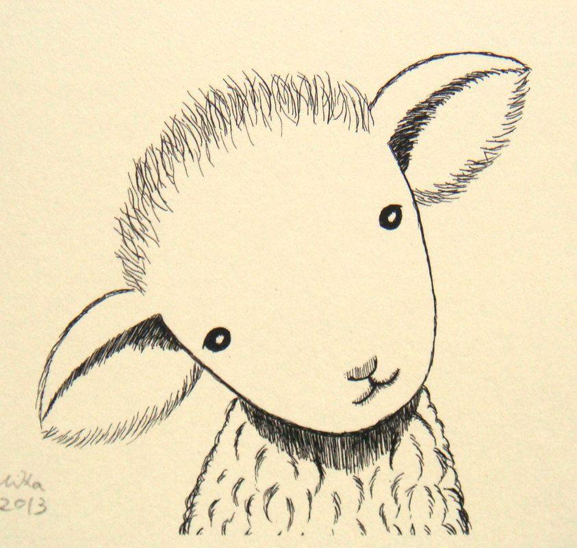 843x800 Nursery Art Print Lamb Sheep Ink Drawing Cute Lamb Illustration