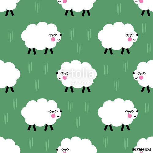 500x500 Smiling Lambs Seamless Pattern Background. Vector Baby Sheep