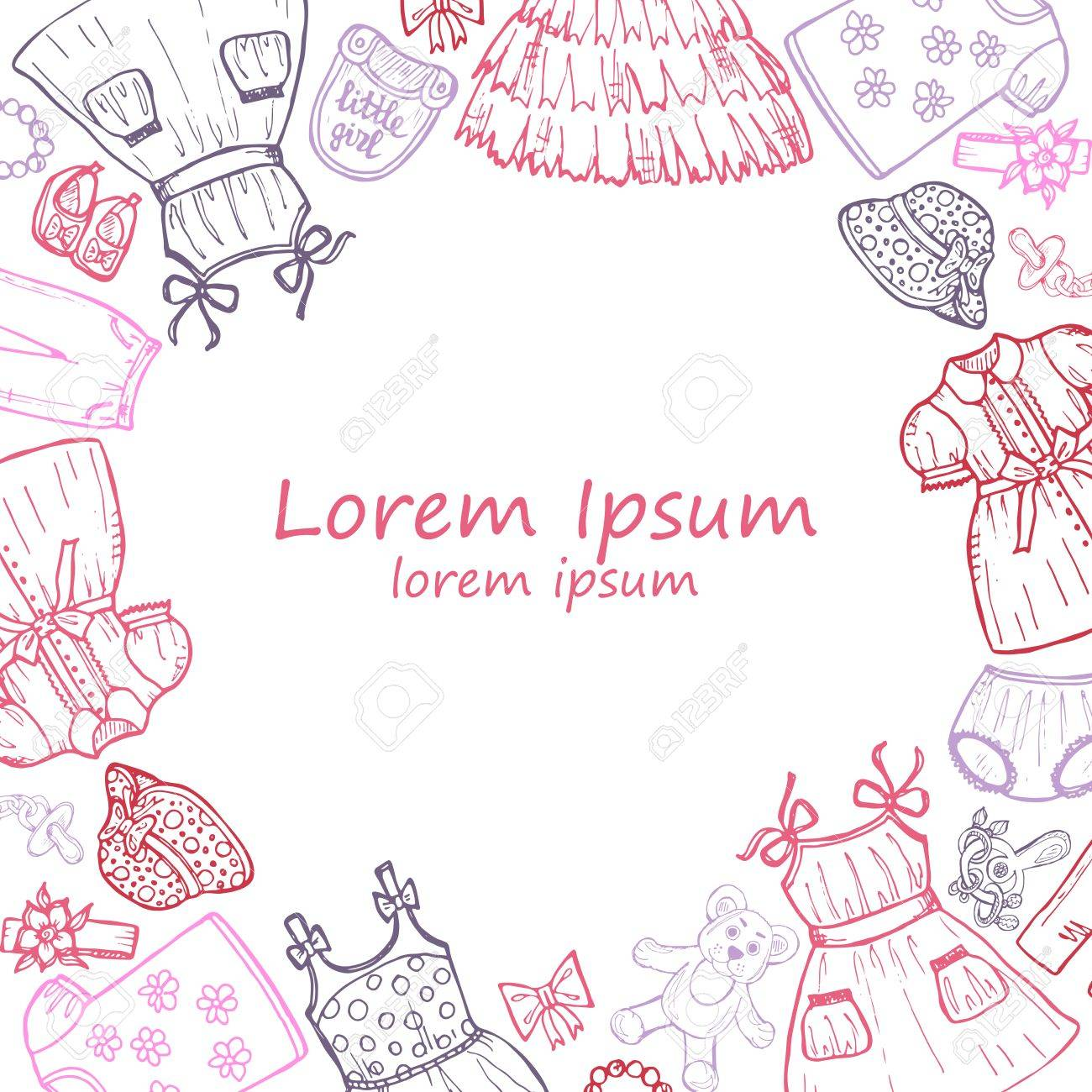 1300x1300 Hand Drawn Card Template With Clothes For Baby Girl Including