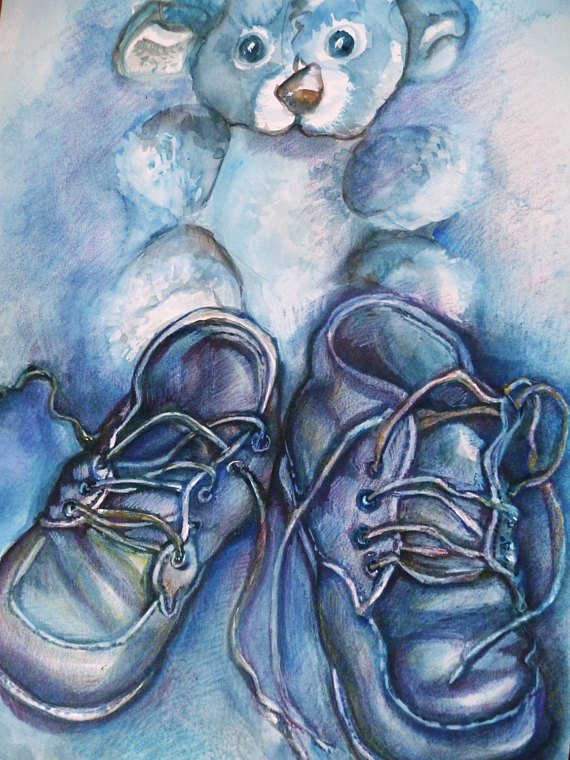 570x760 Paintings Of Baby Shoes