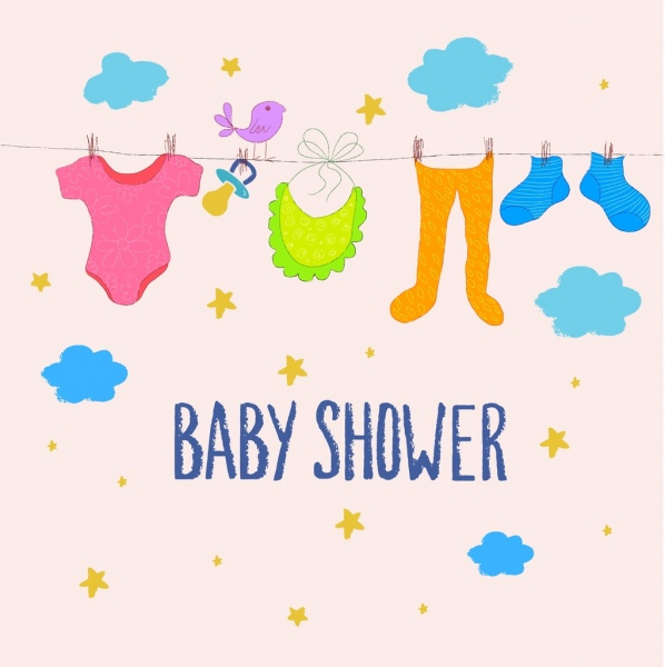598x600 Baby Shower Background Hanging Clothes Colorful Cartoon Drawing