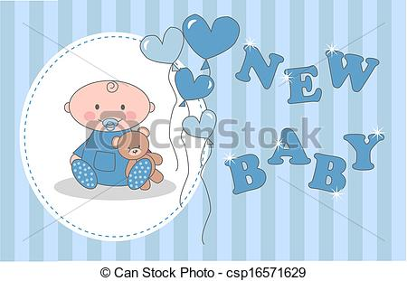 450x311 Baby Shower Newborn Baby Boy Vector Illustration