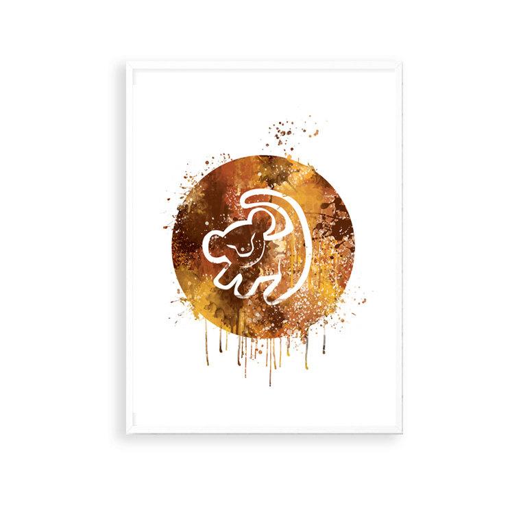 760x760 Sale! The Lion King Simba Drawing Print, Disney Watercolor Art