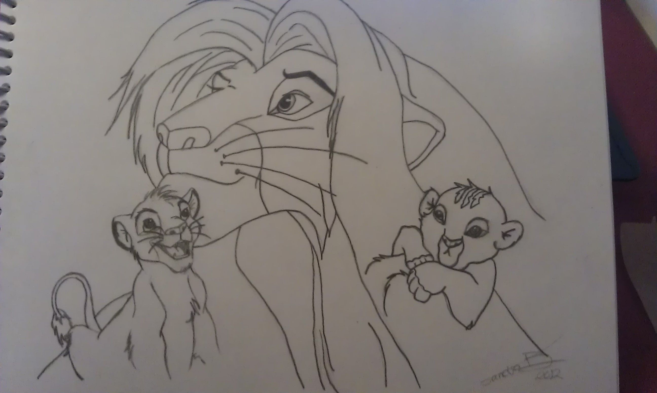 2592x1552 Simba From The Lion King As Baby Small And Adult Drawing