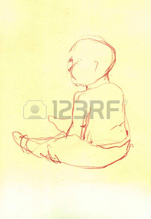 310x450 Baby Sitting Sketch. Hand Drawn Cartoon Illustration Stock Photo