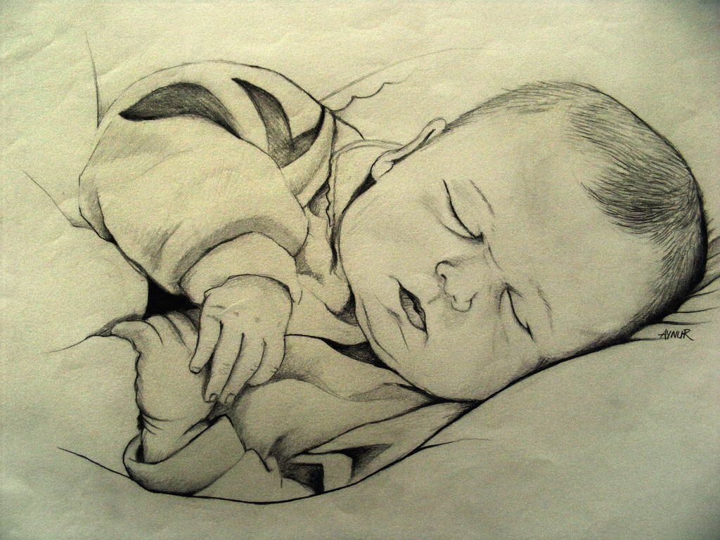 1024x768 Baby's Pencil Sketches Baby Sleeping Pencil Drawing Pencil