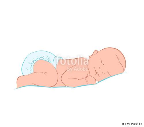500x440 Newborn Little Baby Stylized Art. Lovely Newborn Baby Sleeping