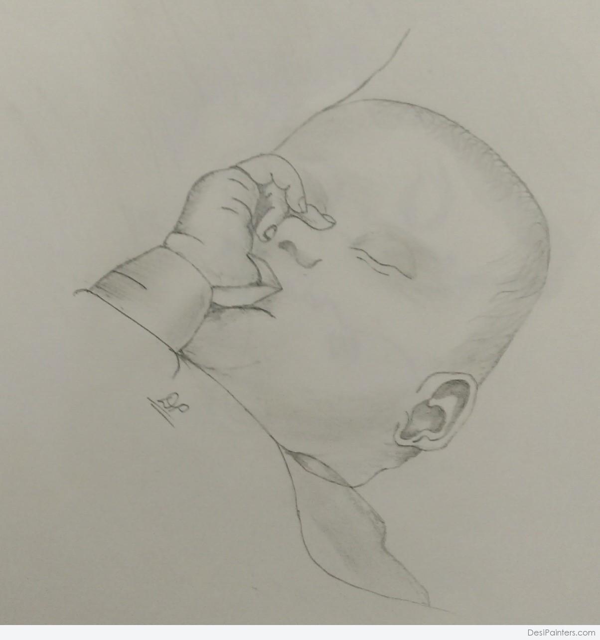 1204x1284 Pencil Drawings Of Babies Sleeping Baby Paintings Desipainters