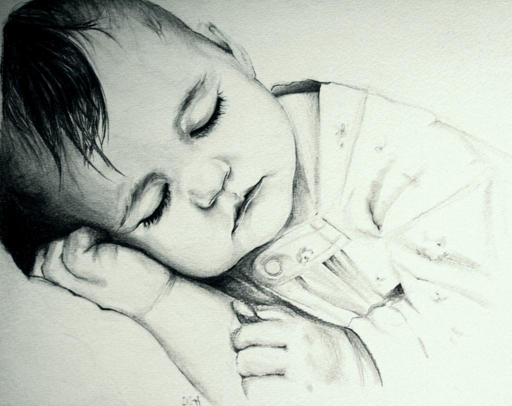1024x812 Sleeping Baby Sketches Baby Sleeping Pencil Drawing Pencil