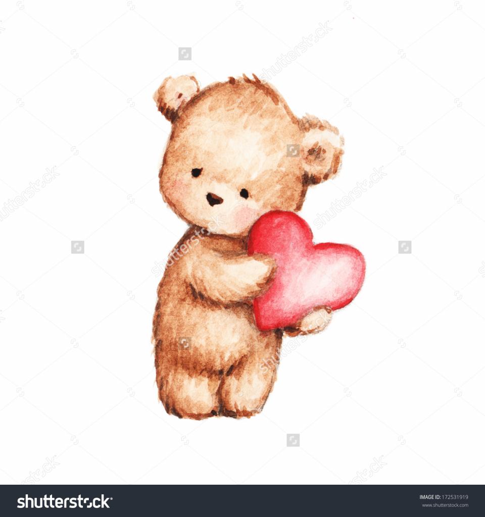 960x1024 Cute Baby Bear Drawing Drawing Of Cute Teddy Bear With Heart Stock