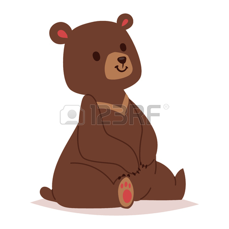450x450 Cute Cartoon Bear Emotions Icon. Brown Character Happy Smiling