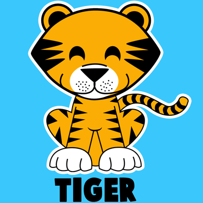 400x400 How To Draw A Cartoon Baby Tiger With Easy Step By Step Drawing