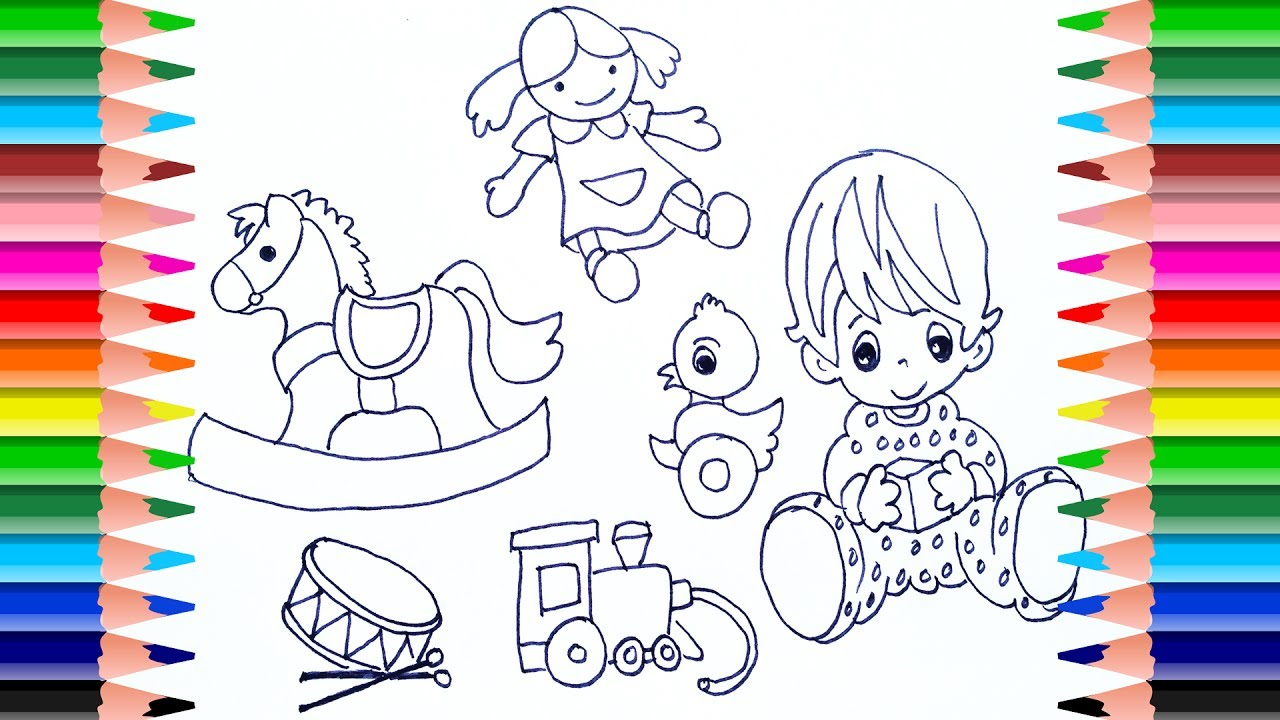 1280x720 How To Draw Baby Toys Like Dolls, Horses,duck,drum Art Colors