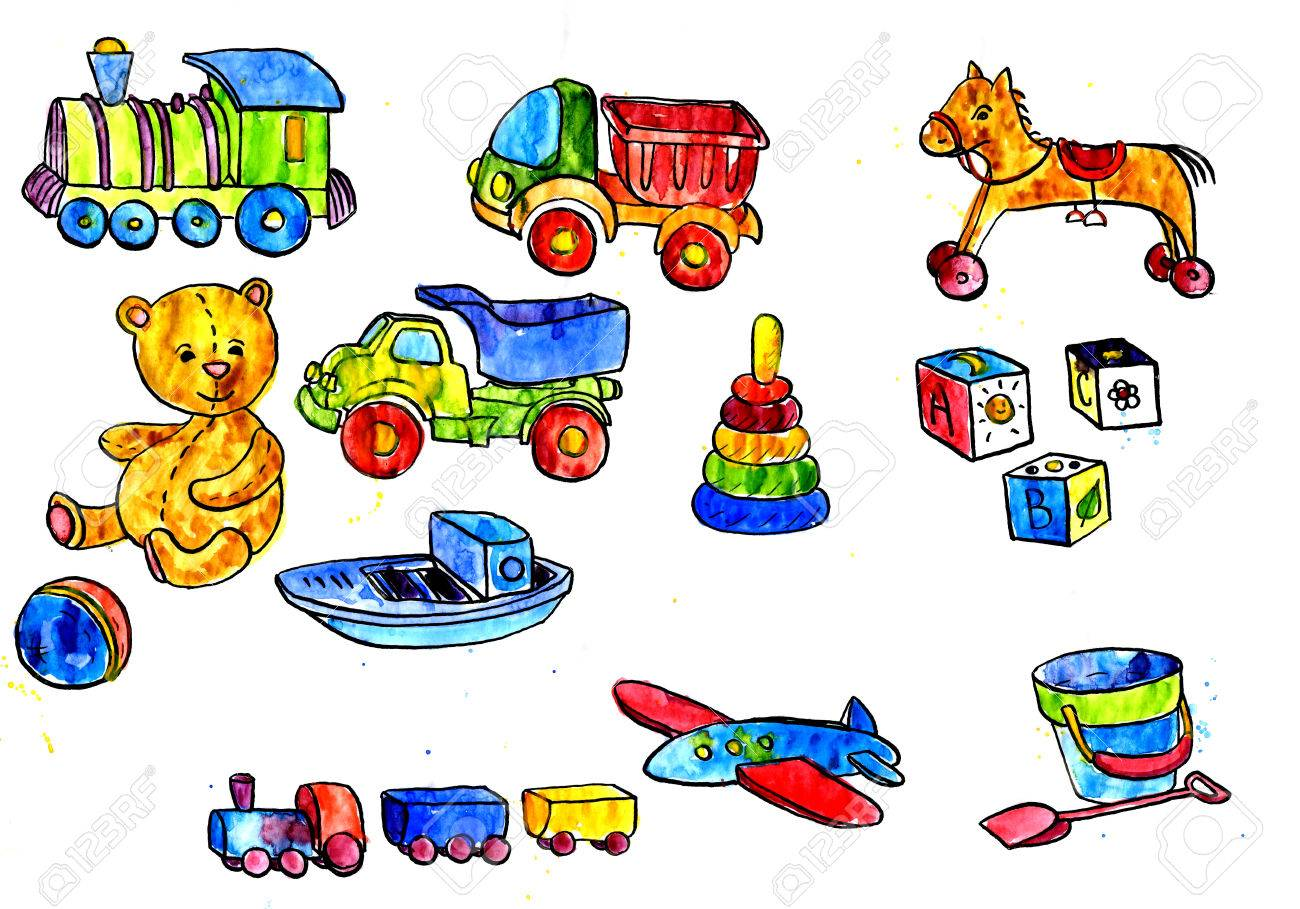 1300x909 Set Of Watercolor Drawing Baby Toys, Boot And Car, Teddy Bear