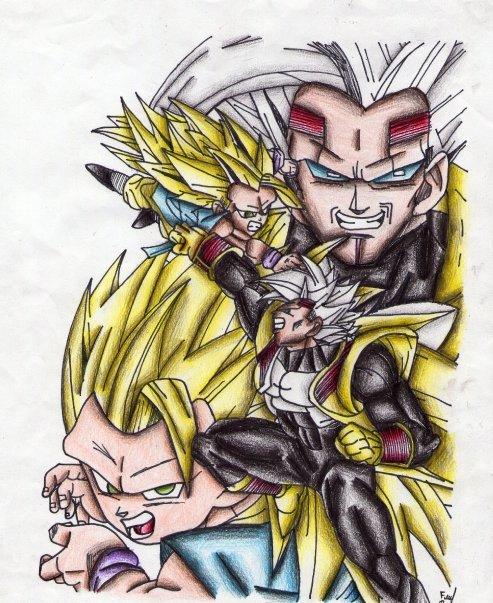 493x603 Goku (Gt) Ssj3 V.s Baby Vegeta By Cheygipe