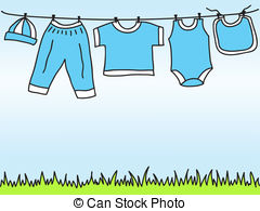 240x195 Vector Baby Clothes On Clothesline. Baby Bodysuits, Rompers