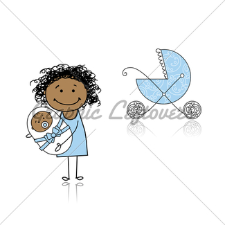 325x325 Mother With Baby In Buggy Walking Gl Stock Images