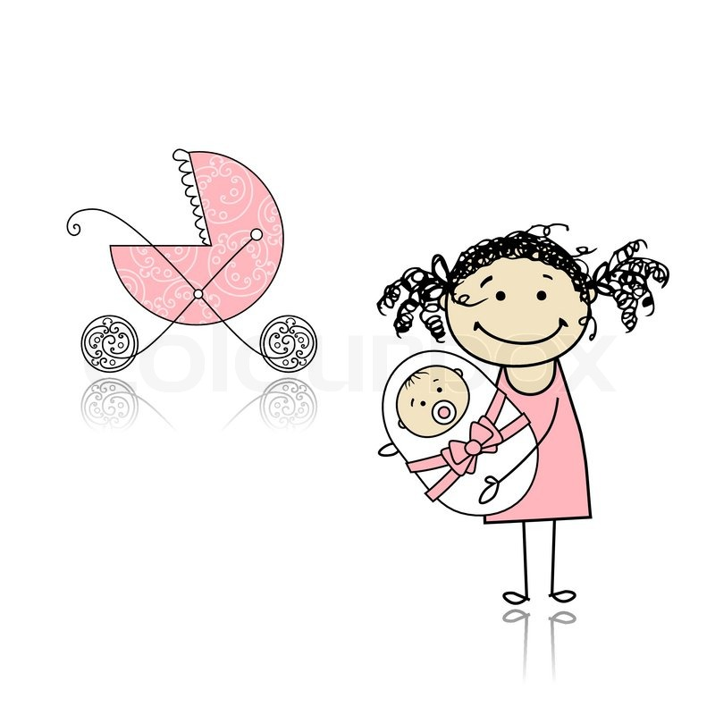 800x800 Mother Walking With Buggy, Newborn Baby Stock Vector Colourbox