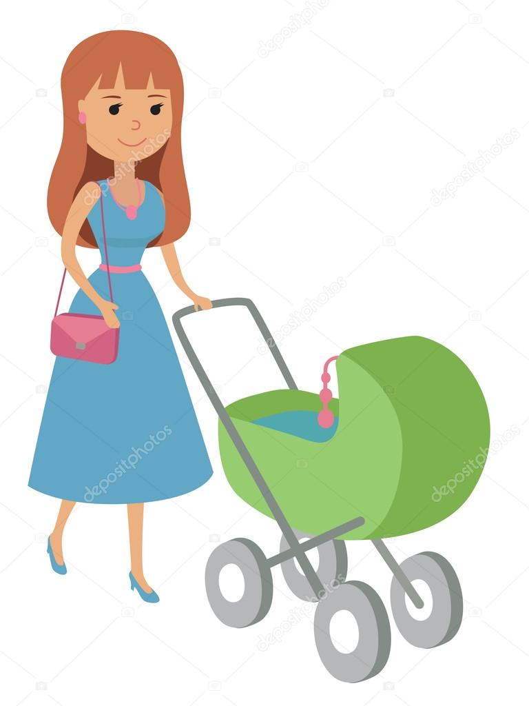 768x1024 Vector Illustration Of Mother Walking With Newborn On Baby