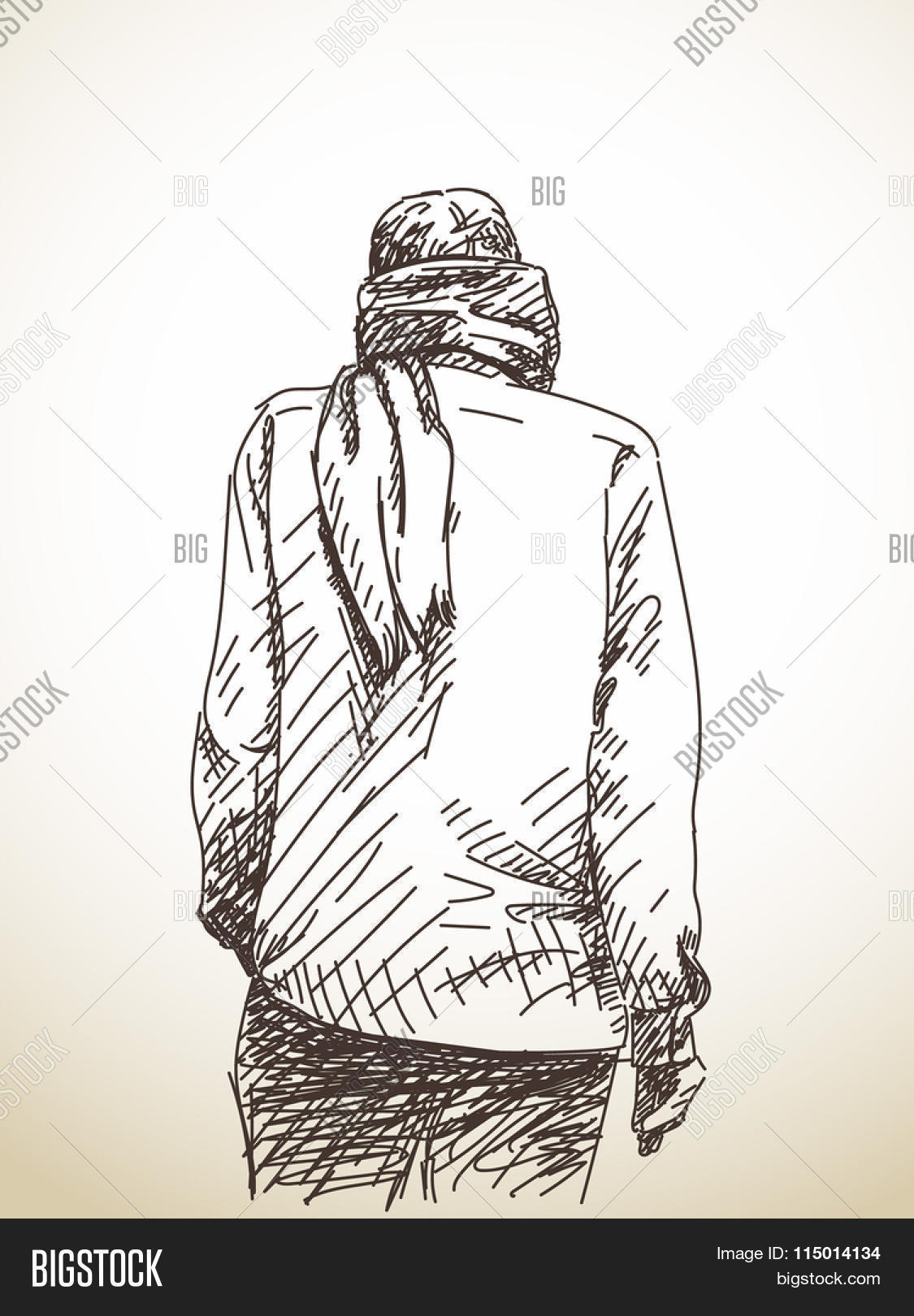 1125x1620 Sketch Man Back Scarf Around His Vector Amp Photo Bigstock