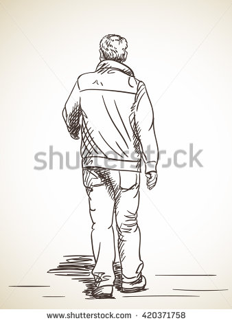 338x470 Sketch Of Man Walking, Hand Drawn Illustration Of Back View