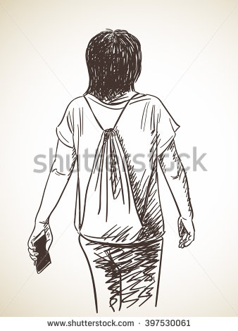 338x470 Sketch Of Woman From Back, Hand Drawn Vector Illustration