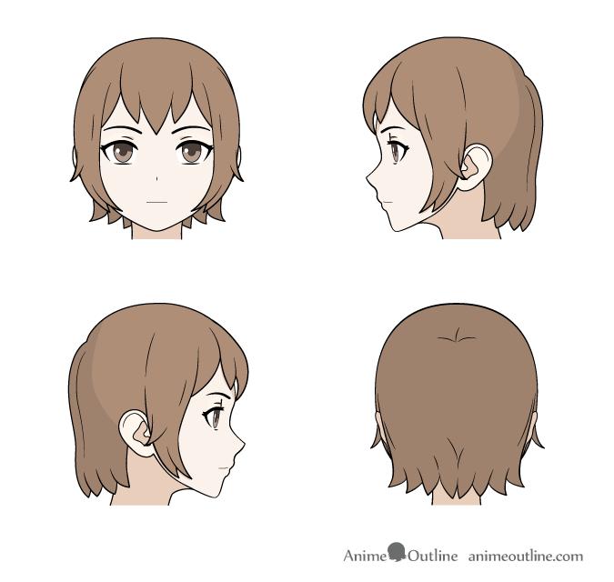 675x640 How To Draw Anime Amp Manga Male Amp Female Hair Anime Outline