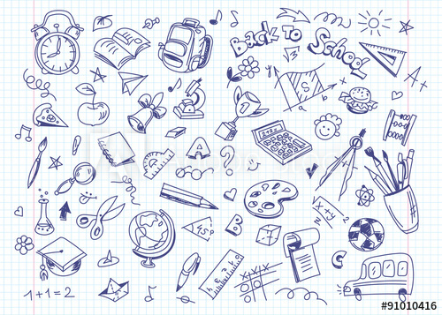 500x357 Back To School Drawing Background On Copy Book Paper