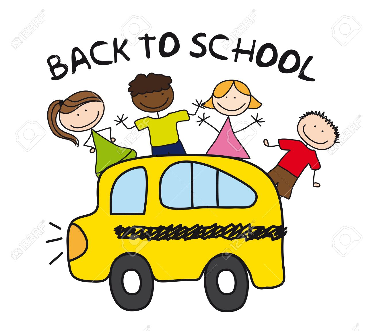 1300x1153 Children And Bus Drawing, Back To School. Royalty Free Cliparts