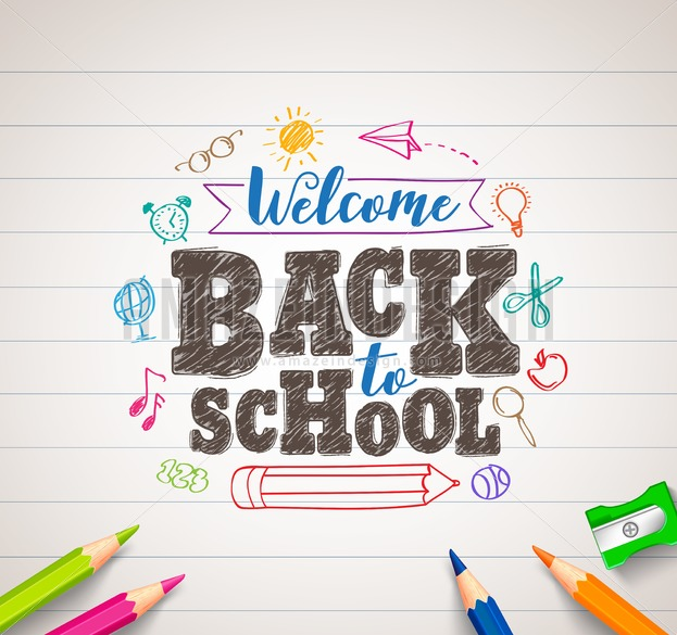 623x585 To School Vector Drawing In White Paper With Colorful Crayons