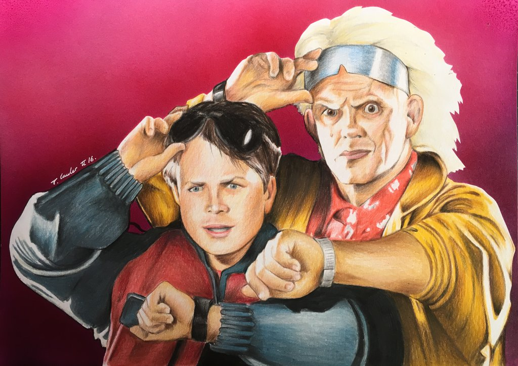 1024x724 Back To The Future Marty Mcfly Drawing By Billyboyuk
