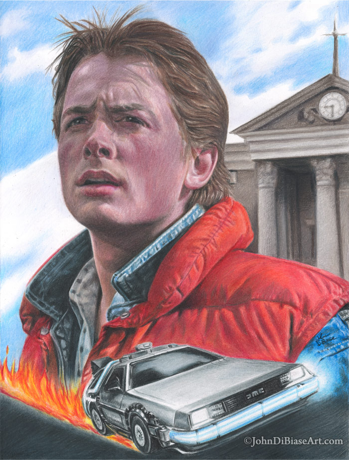 700x922 Colored Pencil Drawing Of Marty Mcfly And The Delorean From Back